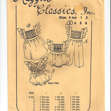 Maggie's Classics 306 Pattern for Girls' Bubble Suit, Pinafore, Overalls, Size 3, UNCUT, From 1979, Smocking, Vintage Pattern, Home Sewing