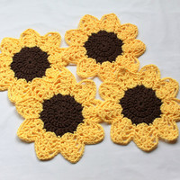 Cotton Dishcloth Set - Sunflower - Set of 4