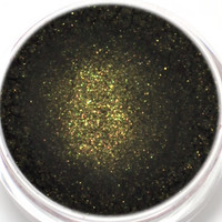 "Eyeshadow Sample - ""Goldmine"" - Black with Gold Shimmer Vegan Mineral Eyeshadow Net Wt .4g Mineral Makeup Eye Color Pigment"