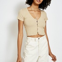 UO Short-Sleeve Button-Through T-Shirt | Urban Outfitters