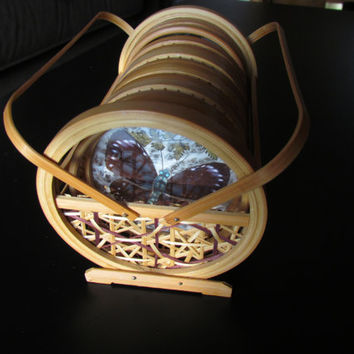Butterfly Coaster Set Wicker Bamboo  Caddy Vintage