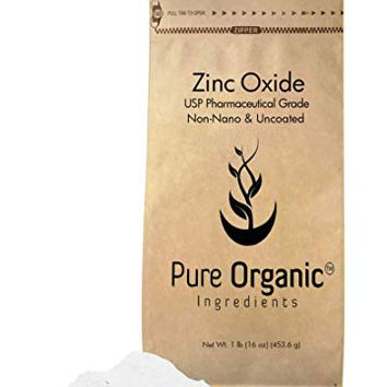 Zinc Oxide Powder (1 lb.) by Pure Organic Ingredients, Eco-Friendly Packaging, Non-Nano, Uncoated, Food & USP Grade, For Sunscreen, Diaper Rash Ointment, Burn Relief & Chapped Lips Remedy