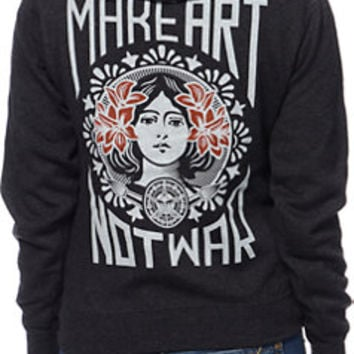 Obey Make Art Not War Charcoal Pullover Hoodie
