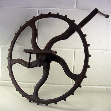 SOLD!  Vintage Cast Iron Crank Gear Wheel Industrial Decor