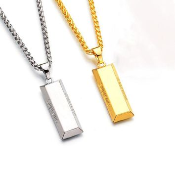 Fashion Men Necklace Punk Hiphop Cube Bar SUPREME Necklace&Pendant Charm Gold Chain Lo