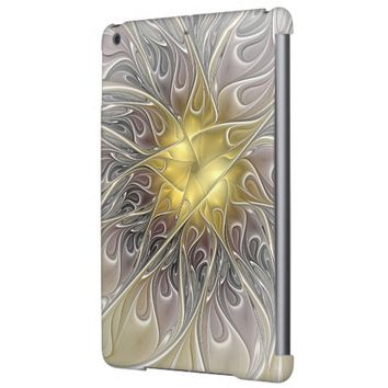 Flourish With Gold Modern Abstract Fractal Flower iPad Air Cover
