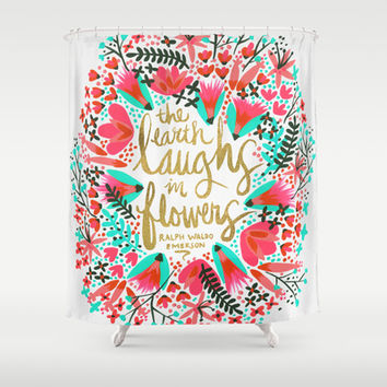The Earth Laughs in Flowers – Pink & Gold Shower Curtain by Cat Coquillette