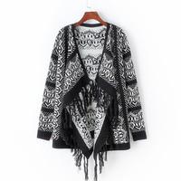 Women Vintage Geometric Knitted Tassel Cardigan Sweater