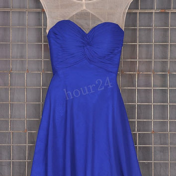 Dark Royal blue Short Bridesmaid Dresses, Simple Prom Dress, Party Dresses,Evening Dresses,Wedding Party Dresses, Bridesmaid Dresses