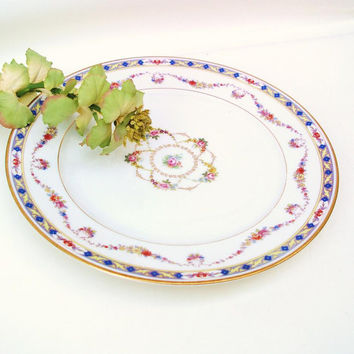 Vintage Rosenthal China Dinner Plate Floral Geometric Design Blue Yellow Pink