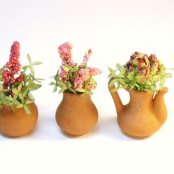 Three Miniature Flower Pots Fairy Garden Dollhouse Plants