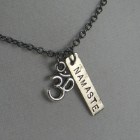 OM NAMASTE YOGA Necklace - Yoga Jewelry - Om Necklace - Namaste Necklace on 18 inch gunmetal chain - Om Necklace