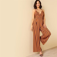 Striped Spaghetti Strap Travel Romper