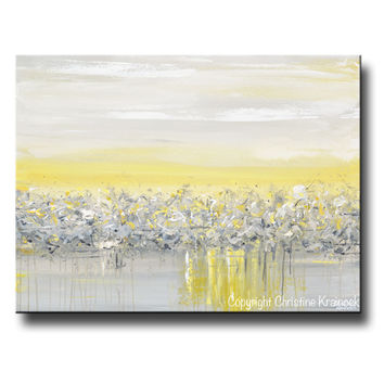 GICLEE PRINT Art Yellow Grey Abstract Painting Modern Coastal Horizon Gold White Canvas Wall Art