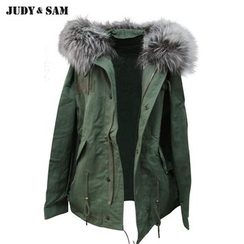 Parka Coat Cotton Fabric Detachable Fur Collar