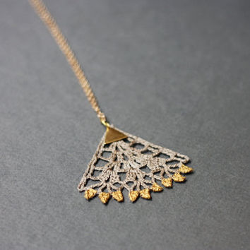 Boho pendant necklace gold painted lace taupe brown triangle