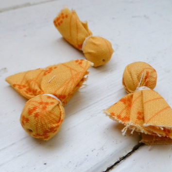 Fabric beads, tassel beads, orange beads, fabric beads, jewelry making, diy, handmade, ready to ship, orange, beading, jewelry supplies