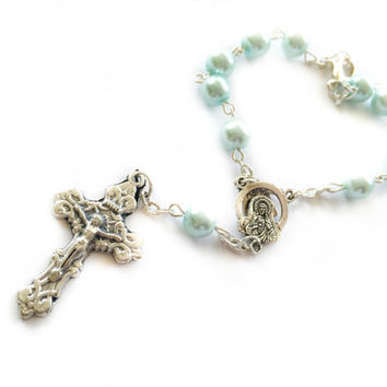 Baby Blue Auto Rosary, Catholic