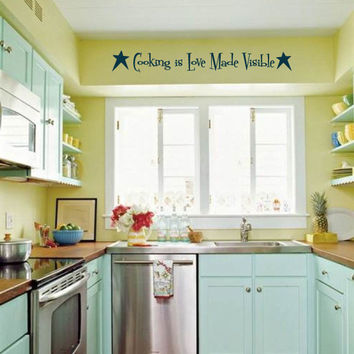 Cooking is Love Made Visible with Primitive Stars Vinyl Wall Words Decal Sticker Graphic