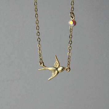 14K Gold Plated Brass Swallow with AB Crystal Charm Handmade Dainty Collarbone Necklace