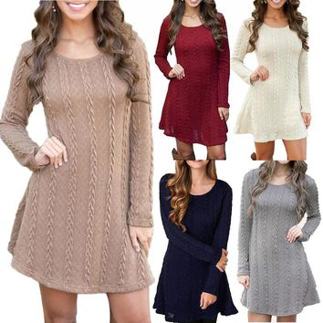4XL 5XL Large Size Fashion Casual Long Sleeve Sweater Dress 2019 Winter Dress Femme Short Knitted Dress Plus Size Women Clothing