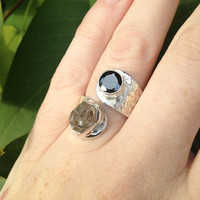 Unique 925 Sterling SIlver Herkimer Diamond and Faceted Black Onyx Wrap Around Statement Ring Size 7