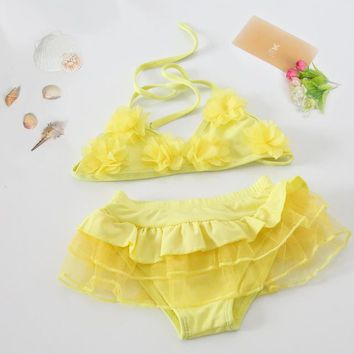 Childrens Swimsuit Cute Bikini Girl 3pcs Baby Girls Swimwear Baby Bikini Suit Comfortable Lovely Children Bubble Hot Spring Baby  Mermaid Ballet KO_25_2