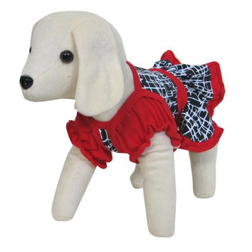 UP Collection Red and Black Graphic Printed Dress for Pets, X-Small