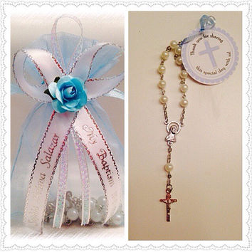 24 Personalized Mini White Pearl Rosary Favors with Blue Organza Gift Bag Baptism/Communion Recuerdos de Bautizo