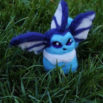 Needle-Felted Minimalist Vaporeon Eevolution Pokeball Cute Adorable Handmade Pokemon