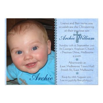 Baby Boys photo Christening invitation - Archie
