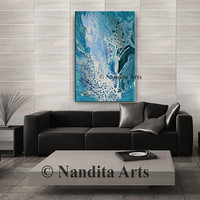 "Ocean Painting, Abstract Art 36"" Original Painting Blue Fluid Art, Large Wall Art Mixed Media Office Art Birthday Gift for Living Room Decor"
