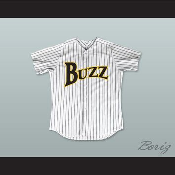 Hog Ellis 4 Buzz White Pinstriped Baseball Jersey Major League: Back to the Minors