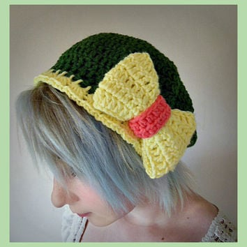 Forest Green Crochet Beret Hat With Soft Yellow Bow - Women's Medium