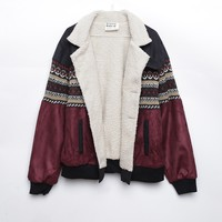 SEATTLE BURGUNDY BLACK VEGAN NAVAJO BOMBER