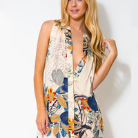 'The Ashlyn' Floral Print Sleeveless Vneck Mini Dress