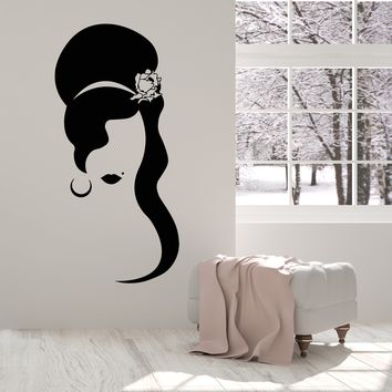 Vinyl Wall Decal Girl Hairstyle With Rose Flower Lips Beauty Spot Stickers (2630ig)