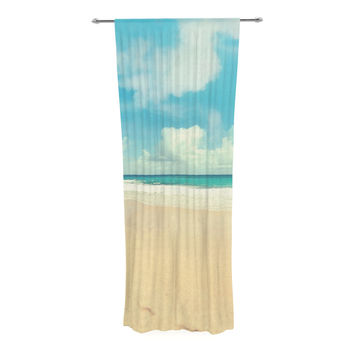 "Sylvia Cook ""Beach Time"" Brown Blue Decorative Sheer Curtain"