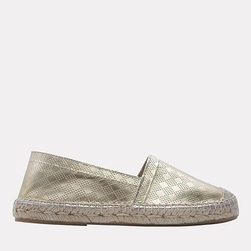 Ilia Metallic Leather Slip On Espadrille (Platino)