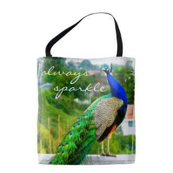 """Always sparkle"" quote blue peacock photo tote bag"
