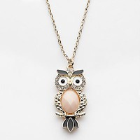 LC Lauren Conrad Gold Tone Simulated Crystal Owl Pendant