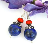 Lapis Lazuli Handmade Earrings, Blue Orange Artisan Beaded Gemstone Sterling Jewelry