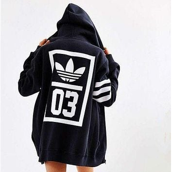 DCCKN7K adidas Originals Trefoil Zip-Up Hooded Sweatshirt