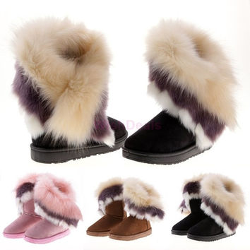 Fashion New Women's Autumn Winter Snow Boots Ankle Boots Warm Synthetic Fur Shoes 3 Colors = 1931453252