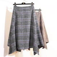 SKIRTS 2017 winter new irregular plaid wool in the long section of the big waist waist skirt