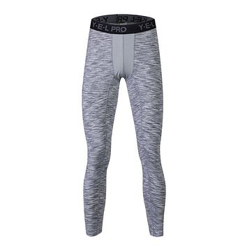 Elastic Quick Dry Men Compression Pants Athletics Stretch Trousers Tights Solid Cotton Skinny Stretch Leggings