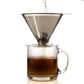 One Cup Coffee Maker by HouseBasics Pour Over Coffee Dripper made with Stainl...