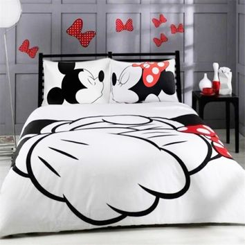 Cool Mickey Minnie Mouse 3D  Printed Bedding Sets Adult Twin Full Queen King Size White Black Bedroom Decoration Duvet Cover SetAT_93_12
