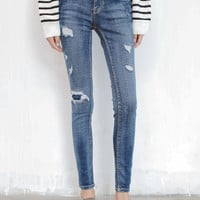 Blue Mid Waist Ripped Patch Skinny Jeans