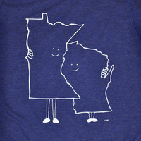 Women's Minnesota (MN) and Wisconsin (WI) Hugging T-shirt by Aych